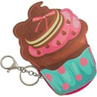 Chaveiro Porta Moedas Infantil Ania Store Sweet Cupcake Feminino - Feminino-Marrom