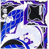 Emilio Pucci Lenço De Seda Com Estampa Hanami - Azul
