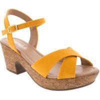 Sandália Gabriela Plataforma Tiras Cruzadas Camurça Amarelo