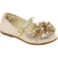 Sapato Boneca Em Couro Com Flor - Ouro Velhoprints Kids