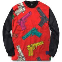 Blusa Bsc Gun Red Full Print - Masculino