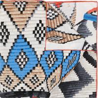 Longchamp Lenço De Seda Com Estampa Gráfica - Azul