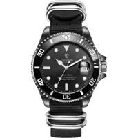 Relógio Tevise T801Nl Masculino Automático Pulseira Nylon - Preto
