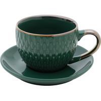Conjunto 4 Xícaras De Porcelana P/Café C/Pires Verde 90Ml