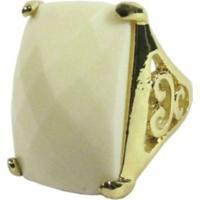 Anel Groove Pedra Quadrada Dourado