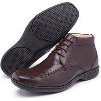 Sapato Social Casual Cano Alto Conforto Em Couro Marrom