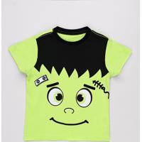 Camiseta Infantil Halloween Frankenstein Manga Curta Verde
