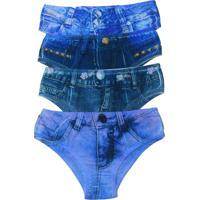Kit 4 Calcinhas Tangas Vip Lingerie Fake Jeans - Azul