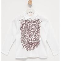Camisa Abstrata Com Recortes- Branca & Bordã´Green
