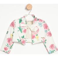Bolero Floral- Branca & Rosaluluzinha