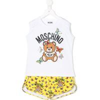Moschino Kids Conjunto De Pijama Com Estampa Teddy E Borboletas - Branco