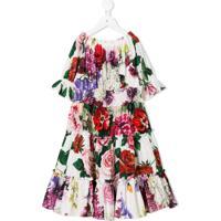 Dolce & Gabbana Kids Vestido Floral - Branco