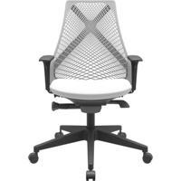 Cadeira Office Bix Tela Cinza Assento Aero Branco Autocompensador Base Piramidal 95Cm - 64043 - Sun House