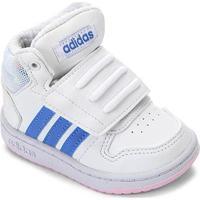 Tênis Infantil Adidas Hoops Mid - Unissex-Branco+Azul