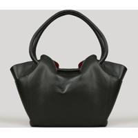 Bolsa Feminina Shopper Com Bolsos Laterais Preta - Único