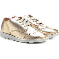 Tênis Infantil Couro Ortopé Walk Boot Metalizado Feminino - Feminino-Ouro
