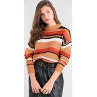 Suéter Feminino Oversized Listrado Em Tricô Decote Redondo Caramelo