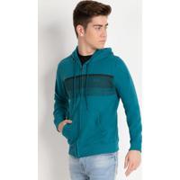 Jaqueta Juvenil Azul Com Capuz E Bolso