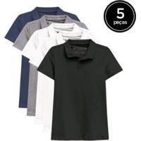 Kit De 5 Camisas Polo De Várias Cores Feminino - Feminino-Branco+Azul Petróleo
