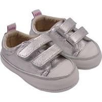Tênis Infantil Couro Catz Calçados Noody Velcro - Unissex-Prata