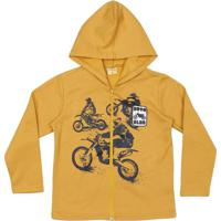 Jaqueta Em Moletom Moto- Amarelo Escuro & Pretamineral Kids