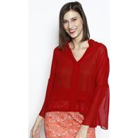 Blusa Em Transparãªncia Com Recortes- Vermelha- Dbz Jdbz Jeans