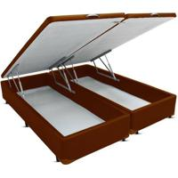 Cama Box Casal Bipartido Bau Frontal Pistão Corano Marrom - 138X188