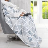 Manta Cobertor Tv Com Mangas Efeito Pele De Carneiro Toque Flannel - Noah