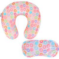 Almofada De Pescoço E Mascara Para Dormir Kit 2 Peças Stradda Donuts (Rosa, Único)