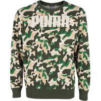 Blusão Puma Rebel Camo Crew Tr - Masculino - Verde Esc/Verde
