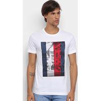 Camiseta Tommy Hilfiger Manga Curta Básica Masculina - Masculino-Branco