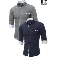 Kit 2 Camisas Sociais Slim Forro Branco - Azul Navy E Cinza