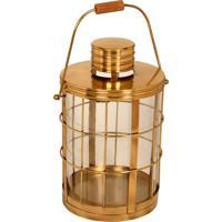 Lanterna Decorativa De Bronze E Vidro Lomami Grande
