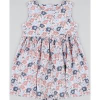Vestido Infantil Estampado Floral Com Recorte Coração Rosa Claro