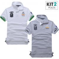 Kit 2 Camisas Polo Piquet Masculino Air Force Manga Curta - Branco E Cinza