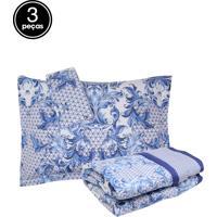 Kit 3Pçs Colcha Queen Buddemeyer Sicilia Percal Confort 200 Fios Azul