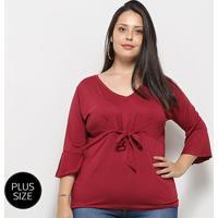 Blusa Blomma Plus Size Amarração Feminina - Feminino-Vinho