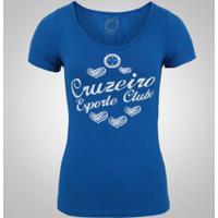 Camiseta Do Cruzeiro Heart Shadow - Feminina - Azul