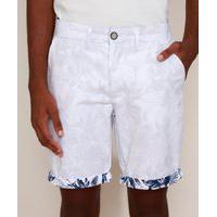 Bermuda De Sarja Masculina Reta Chino Estampada De Folhagem Com Barra Dobrada Branca