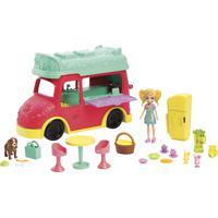 Boneca Polly Pocket Smoothies Food Truck 2 Em 1 Vermelho E Amarelo