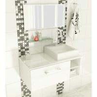 Gabinete Com Cuba E Espelho Felix 1 Pt Branco 80 Cm