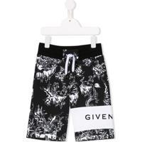 Givenchy Kids Short Esportivo Com Estampa Abstrata - Preto