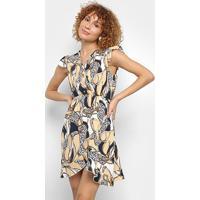Vestido Hc&M Curto Floral - Feminino-Bege