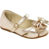Sapato Boneca Em Couro Com Laã§O & Vazados- Ouro Velhoprints Kids