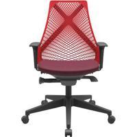 Cadeira Office Bix Tela Vermelha Assento Poliéster Vinho Autocompensador Base Piramidal 95Cm - 64028 - Sun House