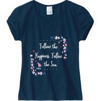Blusa Floral Com Inscrições - Azul Marinho & Branca Malwee