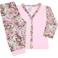Conjunto Pijama Bebê Com Botões Ursos - Look Infantil Rosa Bebê