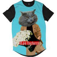 Camiseta Longline Lf Humanos Surreais Cabeça De Gato Segurando Buquê Sublimada Azul