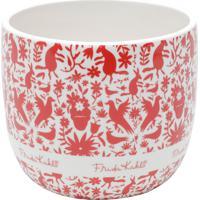 Cachepot Cerâmica Red Birds And Flowers Branco 14X14X12 Cm Urban