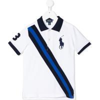 Ralph Lauren Kids Camisa Polo Com Listras - Branco